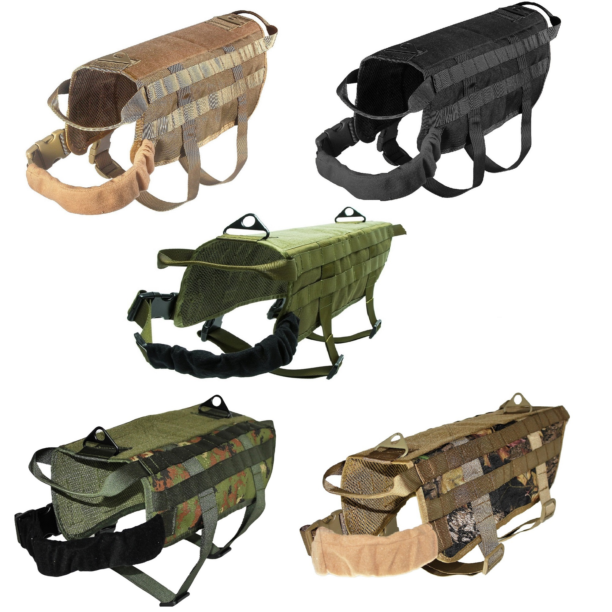 TACTICAL Dog Vest Harness K9 Molle MILITARY Army PATCH Panel Black sz X-Small