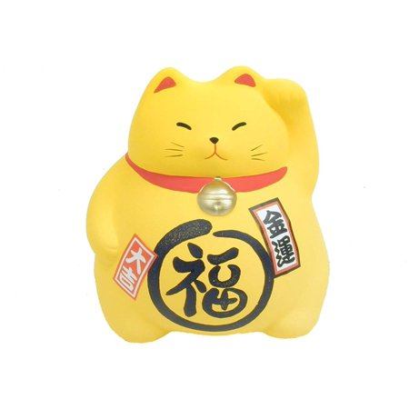 Lucky Cat Bank - JapanBargain Ceramic Maneki Neko Lucky Cat Coin Bank, Yellow