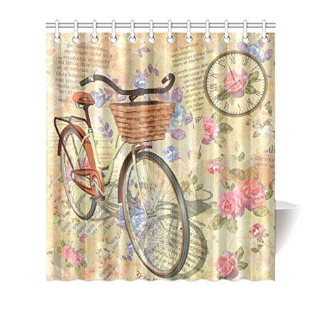 MKHERT Vintage Flowers Waterproof Shower Curtain Decor Newspaper Floral Roses Clock And Bicycle Fabric Bathroom Set 66x72 Inch