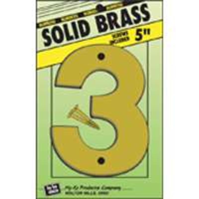Number House 3 4-3/4In 8In 5In Hy-Ko Products Brass Letters & Numbers BR-50/3