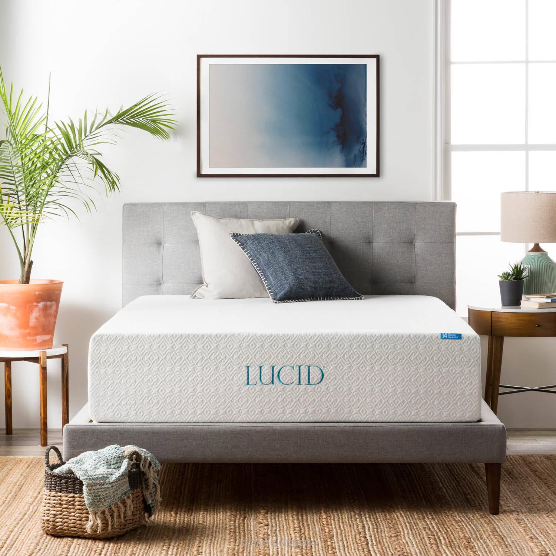 "Lucid 14"" Memory Foam Mattress, Triple-Layer, Multiple Sizes"