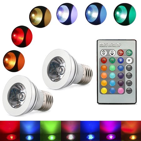 HDE Dimmable LED Lamp Light Bulb Color Changing E27 Standard Screw Base with Remote Control - 2 Pack for $<!---->