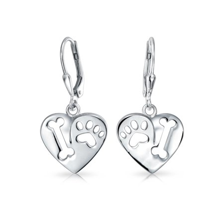 I Love My Dog Heart Shape Cut Out Puppy Bone Animal Lover Paw Print Drop Leverback Earrings 925 Sterling - Cut Out Heart Earrings