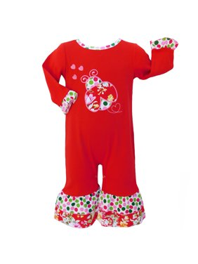 AnnLoren Baby Girls Boutique Winter Polka Dot & Floral Ladybug Set
