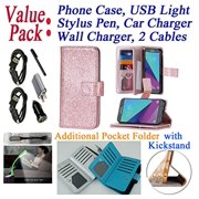 "Value Pack Cables + for 5"" Samsung Galaxy J3 2017 Emerge J3 Prime Case Wallet Phone Case Hybrid Folder Extra Pocket Stand Pouch Purse Screen Flip Cover Rose"