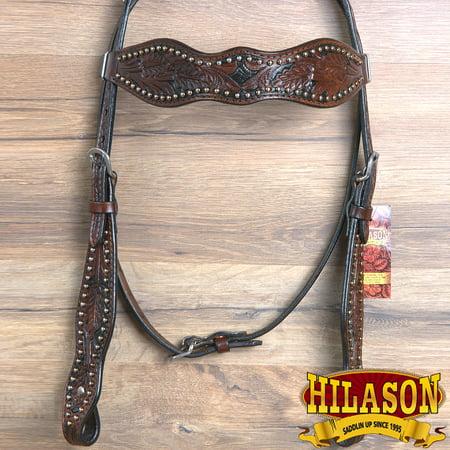 Hilason Western Leather Horse Bridle Headstall Walnut Acorn Hand Tool
