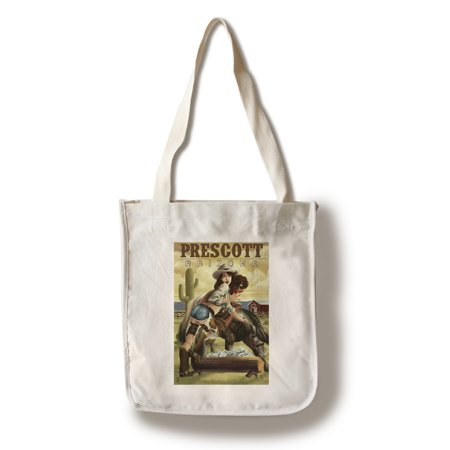 Prescott, Arizona - Cowgirl Pinup - Lantern Press Poster (100% Cotton Tote Bag - - Cowgirl Backpacks