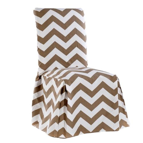 Chevron Cotton Dining Chair Slipcover Pair Khaki/White