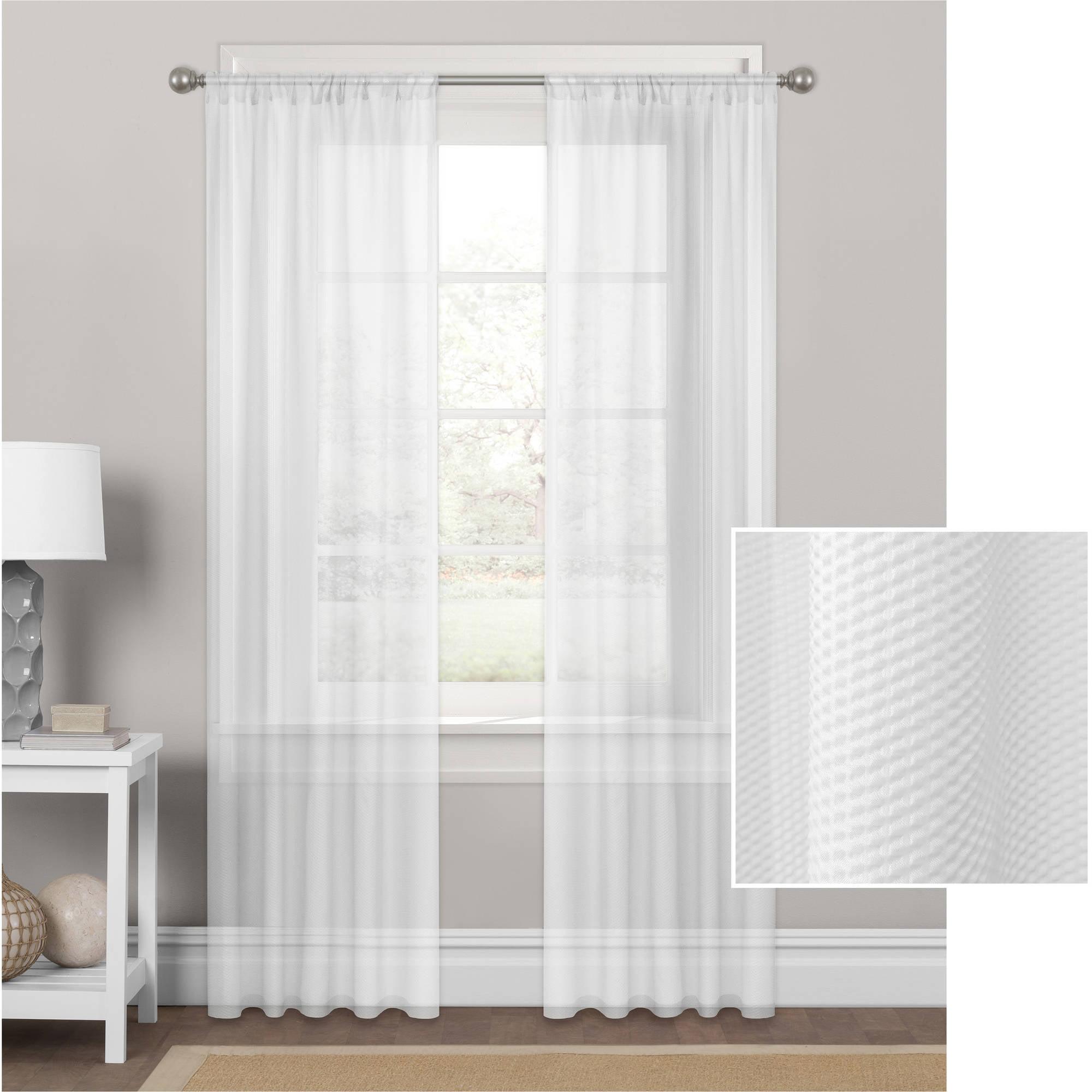 Mainstays Embossed Sheer Window Curtain Panel Walmart Com Walmart Com