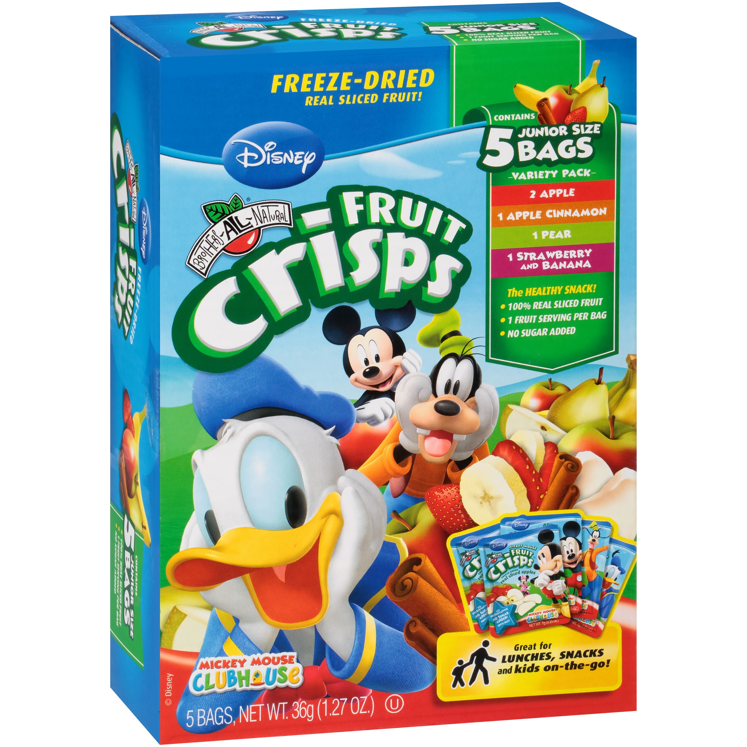 Click here to buy Brothers-All-NaturalMickey Mouse Freeze-Dried Fruit Crisps, Variety Pack, 1.27 Oz, 5 Ct by Brothers International Food Corporation.