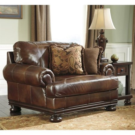 ashley furniture hutcherson leather accent chair and a half in harness. Black Bedroom Furniture Sets. Home Design Ideas