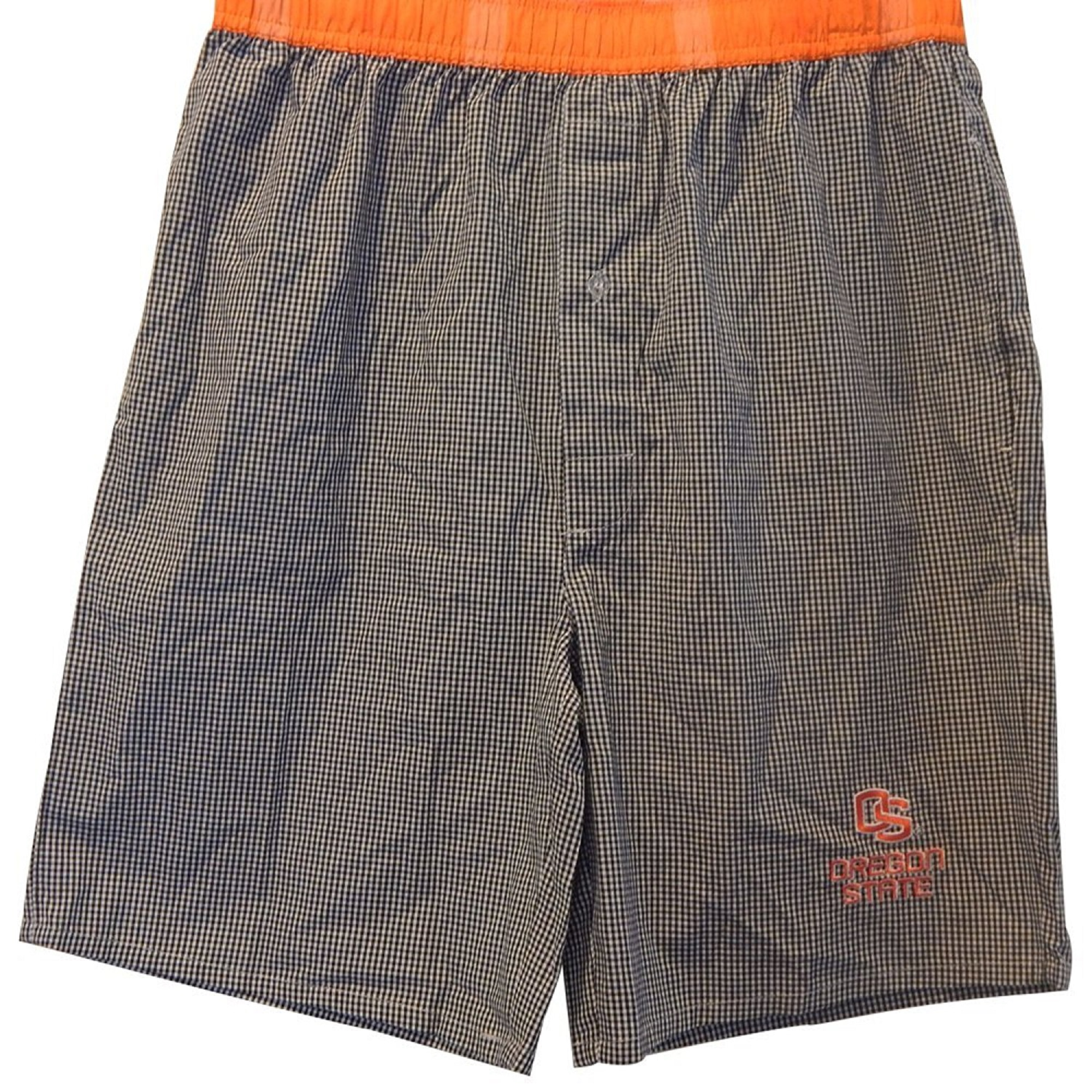 OS Oregon State Long Checked Boxer Shorts Board Shorts Jams Black White Orange (Large) by Sideline Apparel