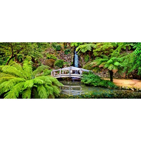 Footbridge and waterfall in a forest Dandenong Forest Melbourne Victoria Australia Canvas Art - Panoramic Images (6 x 15)