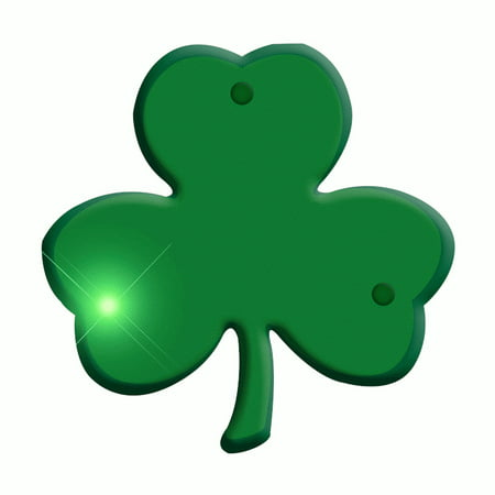 Jade Shamrock Flashing Body Light Lapel Pins - Shamrock Pin