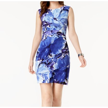 Connected Apparel Womens Floral Print Sheath Dress