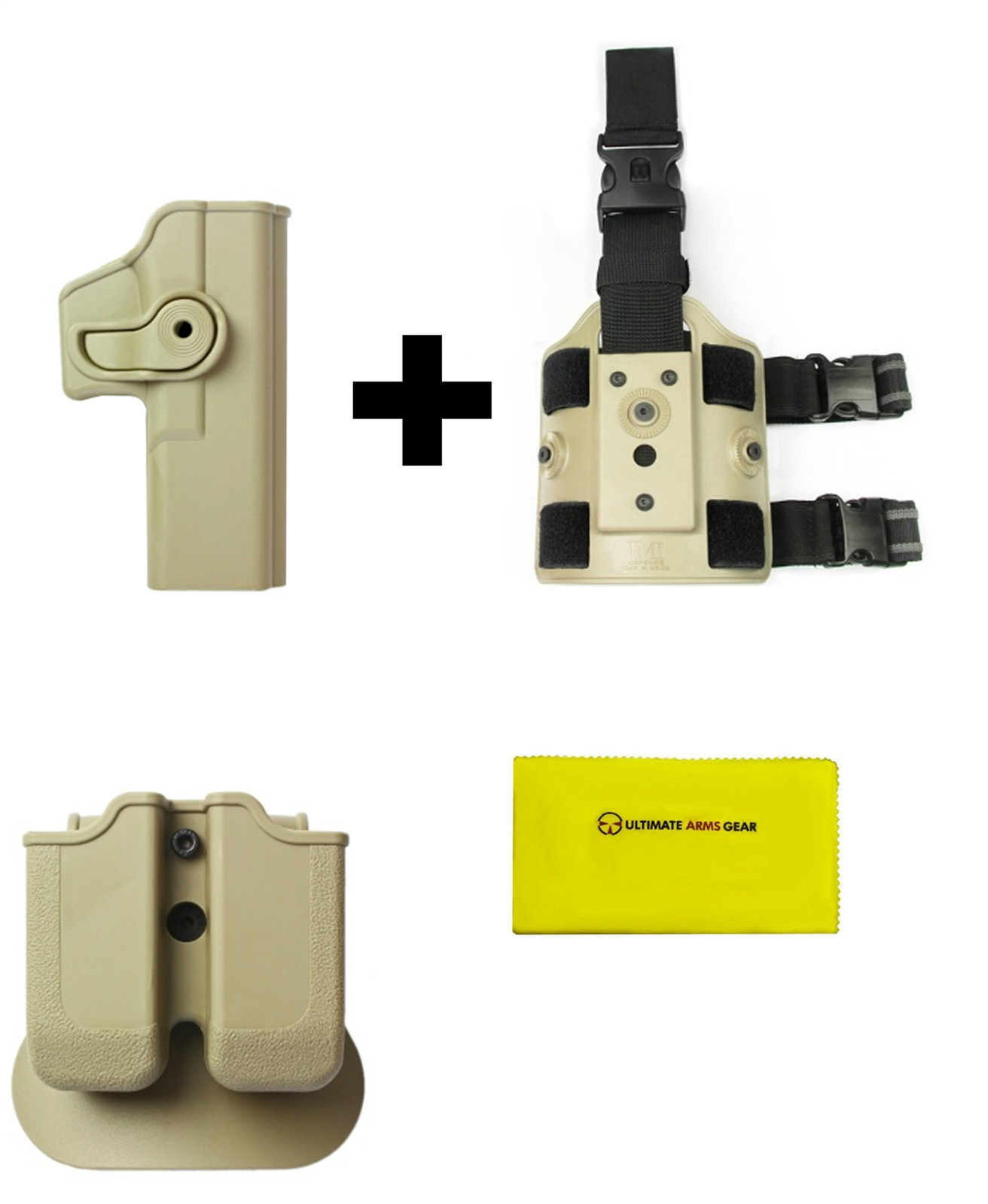 IMI Defense Z2000 MP00 Double Mag Holder & Paddle + Z1010 Rotate Holster Glock 17 22 28 31 34 Right Handed Gen 4... by
