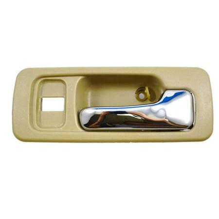 PT Auto Warehouse HO-2578ME-FR - Inner Interior Inside Door Handle, Beige/Tan Housing with Chrome Lever - 4-Door Sedan, Passenger Side Front