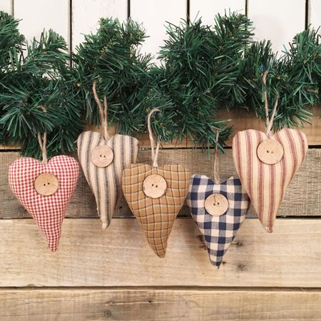 Homespun Fabric Rustic Heart Christmas Ornaments - Set of 5 - Heart Ornaments Set