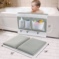Bath Kneeler Pad - Large Thick Easier Safety Baby Bath Mat Kneeling Pad with Toy Organizer - Elbow Rest Padding for Baby Bath, Garden Work, Exercise, Yoga Gray