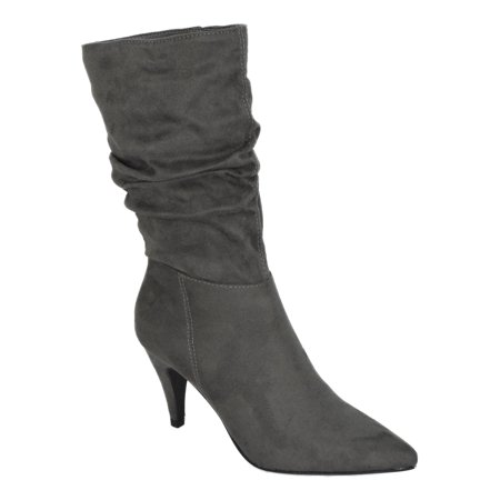 Area Gray City Classified Women Stiletto High Heels Slouchy Pointed Toe Mid Calf Boots Faux Suede -