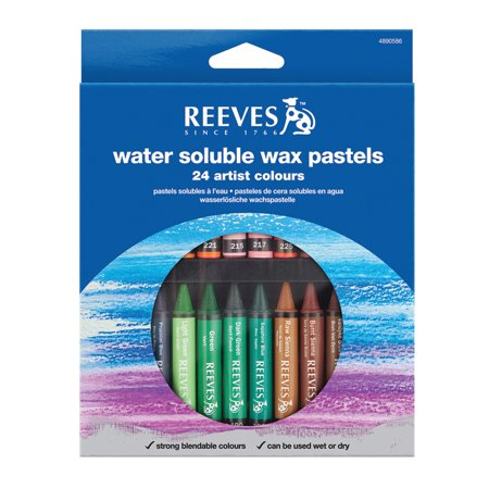 Aquarelle Water Soluble Wax Pastels - Reeves Water Soluble Wax Pastel Set, 24-Colors