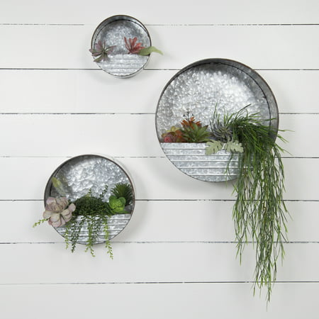 Gallery Solutions Galvanized Metal Round Hanging Wall Pocket Bins, Set of (Metal Wall Hanging Set)