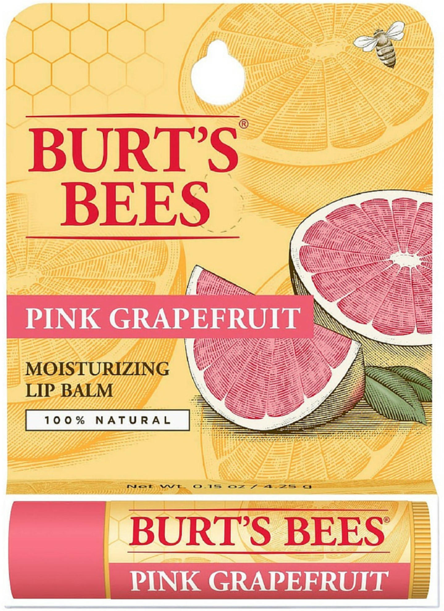 4 Pack Burt's Bees Pink Grapefruit, Moisturizing Lip Balm 0.15 oz by
