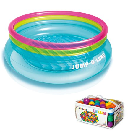 Intex Inflatable Jump-O-Lene Bouncer + 100 Colored Fun Ballz | 48267EP +