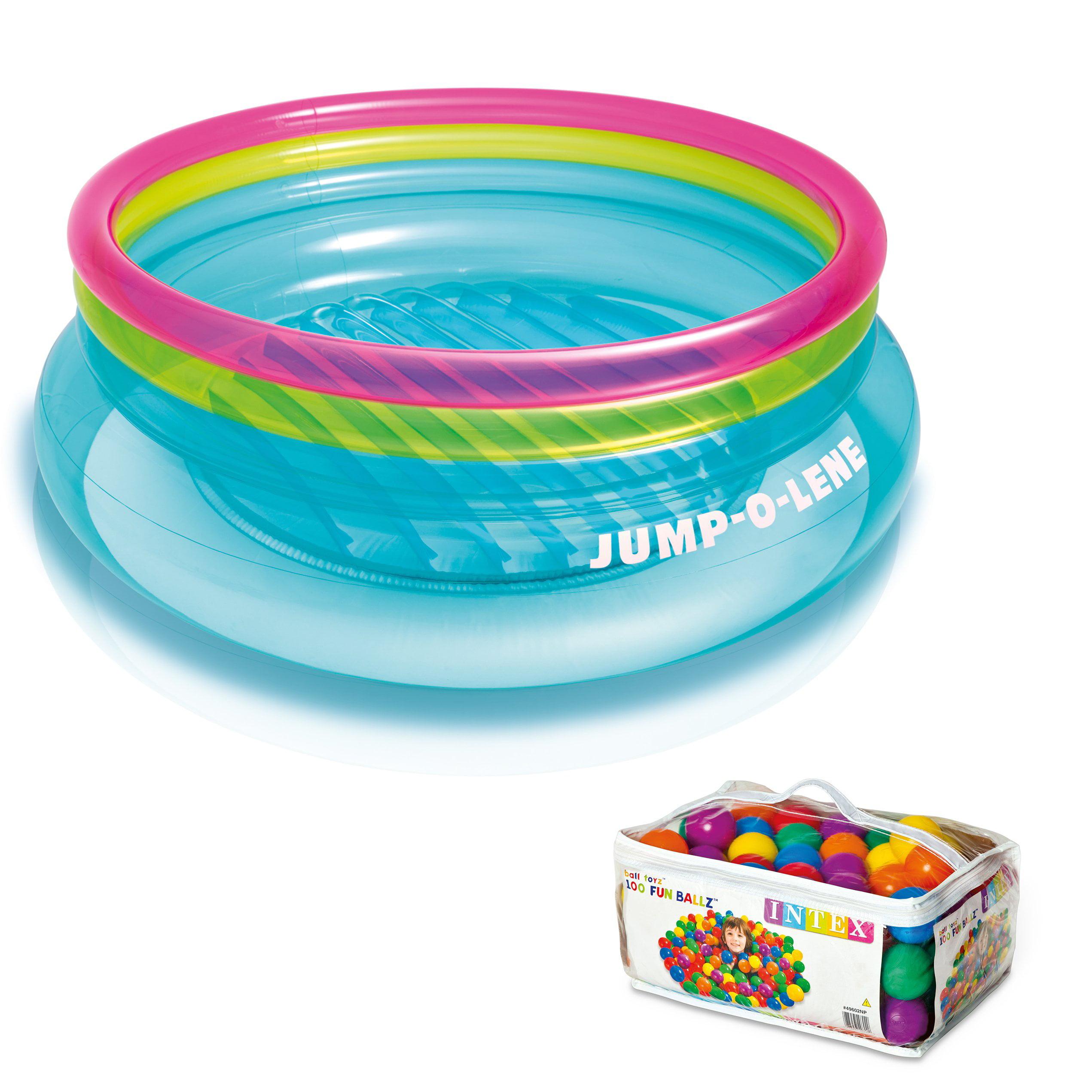 Intex Inflatable Jump-O-Lene Bouncer + 100 Colored Fun Ballz | 48267EP + 49602EP