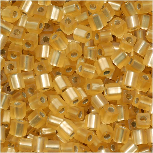 Miyuki 4mm Glass Cube Beads Transparent Silver Lined Gold Matte #003F 10 Grams