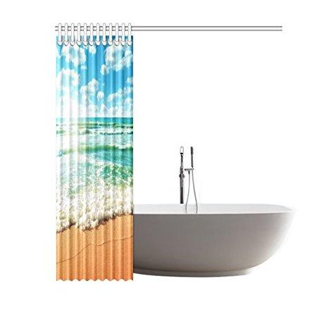 GCKG Coast of Beach Nature Island Ocean Wave Sandy Sun of Beach Shower Curtain 60x72 Inches Polyester Fabric Bathroom Sets Home Decor - image 2 de 3
