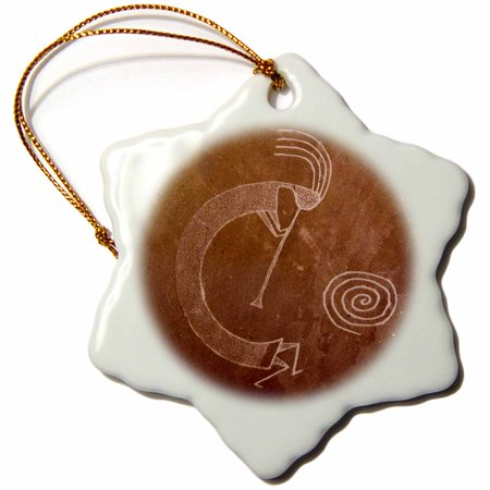 3dRose Pictographs of the Pueblo Indians, Native American - US32 AWY0010 - Angel Wynn, Snowflake Ornament, Porcelain, (Native American Indian Porcelain)