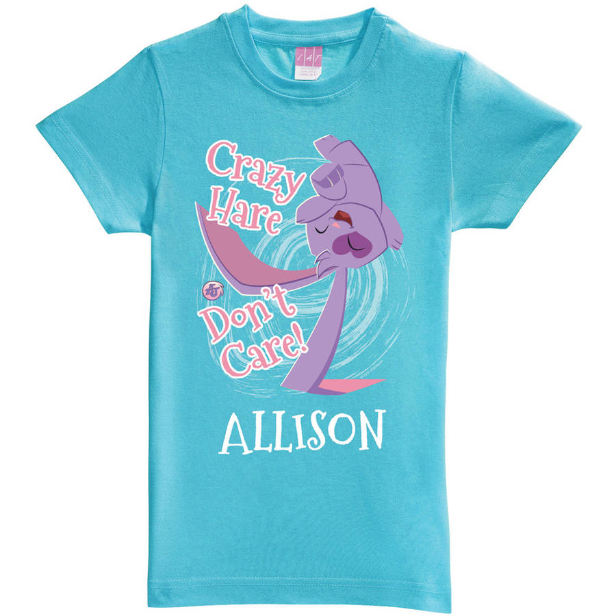 Personalized Animal Jam Crazy Hare Don't Care Girls' Aqua Fitted Tee
