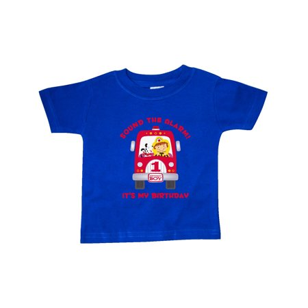 Fire Truck 1st Birthday Boy Baby T Shirt