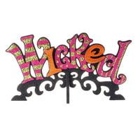 "Raz Imports 15.25"" Glittered ""Wicked"" Halloween Decoration - Pink/Orange"