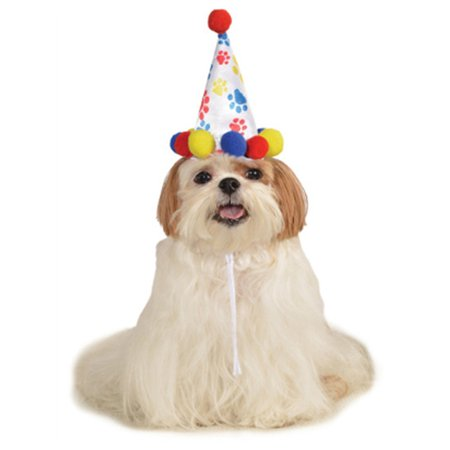 Red Blue Birthday Boy Paw Prints Clown Hat For Pet Dog