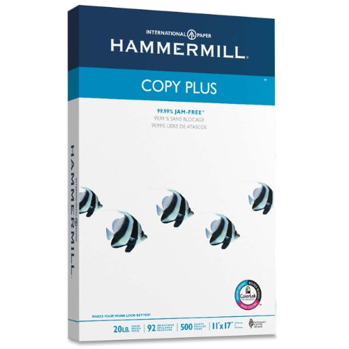 "Hammermill Copy Plus Copy Paper - For Inkjet Print - Ledger/tabloid - 11"" X 17"" - 20 Lb - 92 Brightness - 500 / Ream - White (HAM105023)"
