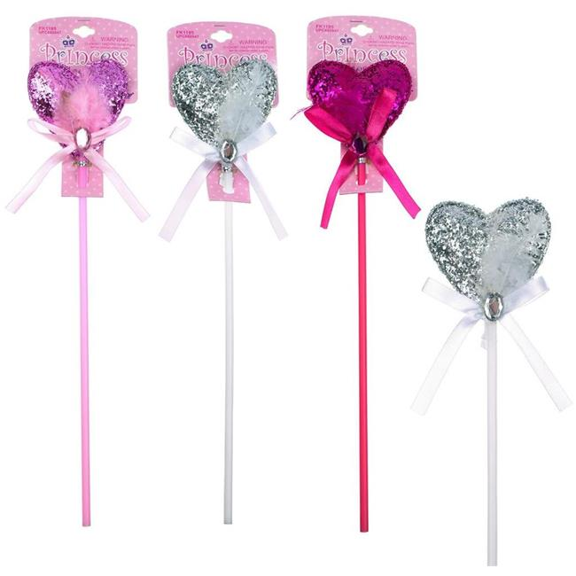DDI 2133055 Glitter Heart Wands with Feathers - Case of 48