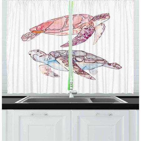 Turtle Curtains 2 Panels Set, Hand Painted Watercolor Artwork of Two Turtles Pastel Cute Underwater Theme, Window Drapes for Living Room Bedroom, 55W X 39L Inches, Pink Fuchsia Purple, by (Colours That Go With Purple In A Bedroom)