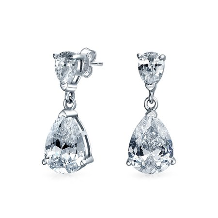 - 5CT Bridal Statement Simple Cubic Zirconia AAA CZ Pear Shaped Teardrop Dangle Earrings For Women 925 Sterling Silver