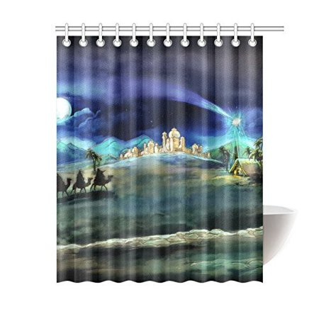 ARTJIA Holy Family And Three Kings Bathroom Waterproof Fabric Shower Curtain 66x72 inches ()