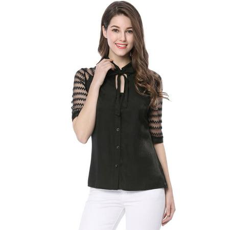 Unique Bargains Women's Button Down Mesh Patchwork Bow Tie Neck Blouse Black (Size XS / 2) Cool Mesh Polyester 2 Button