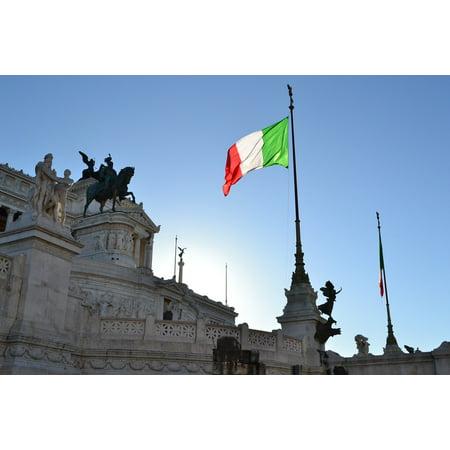LAMINATED POSTER Palace Italian Flag Vittoriano Rome Italy Italian Poster Print 24 x (Rome Italy Flag)