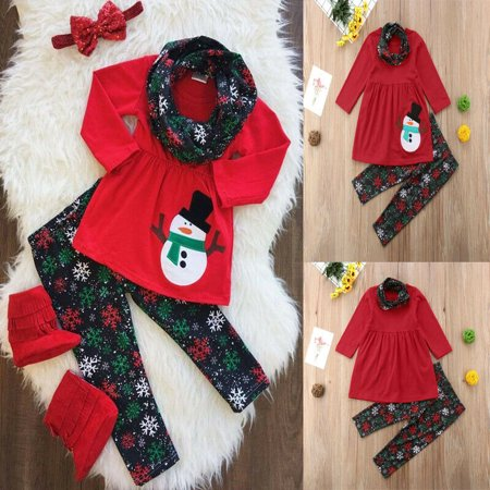 Kids Baby Girl Xmas Outfits Clothes Snowman Tops Skirt+ snowflake Pants+Scarf Set ()