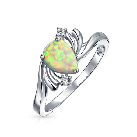 Pear Triangle CZ Pave Teardrop Created Opal Inlay Ring For Women 925 Sterling Silver October Birthstone ()