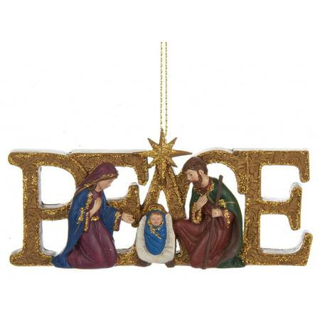 Kurt Adler Peace Holy Family Nativity Scene  Holiday Ornament