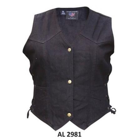 - Ladies Girls Fashion Medium Size Bike Riding Style Black Denim Vest 2 Front Pockets With Side Laces