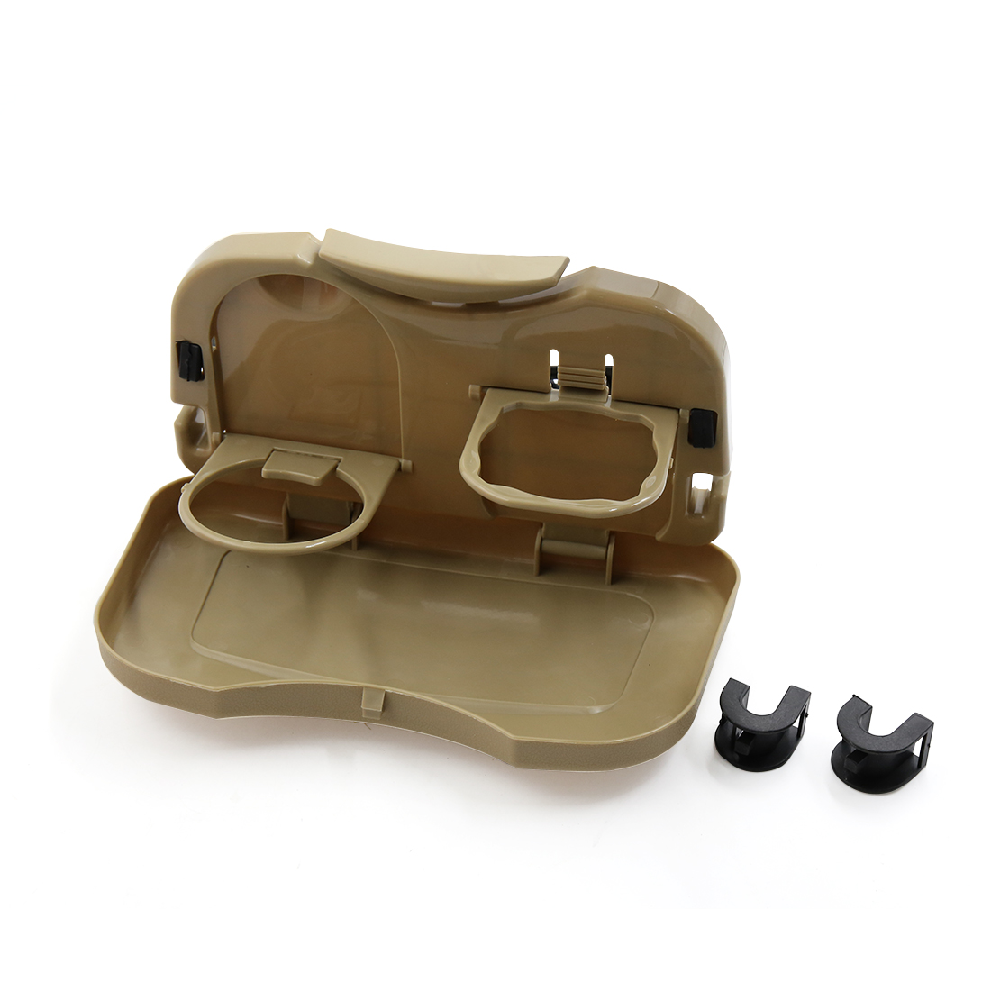 Beige Foldable Car  Back Mounted Beverage Food Cup Dining Tray Table Holder