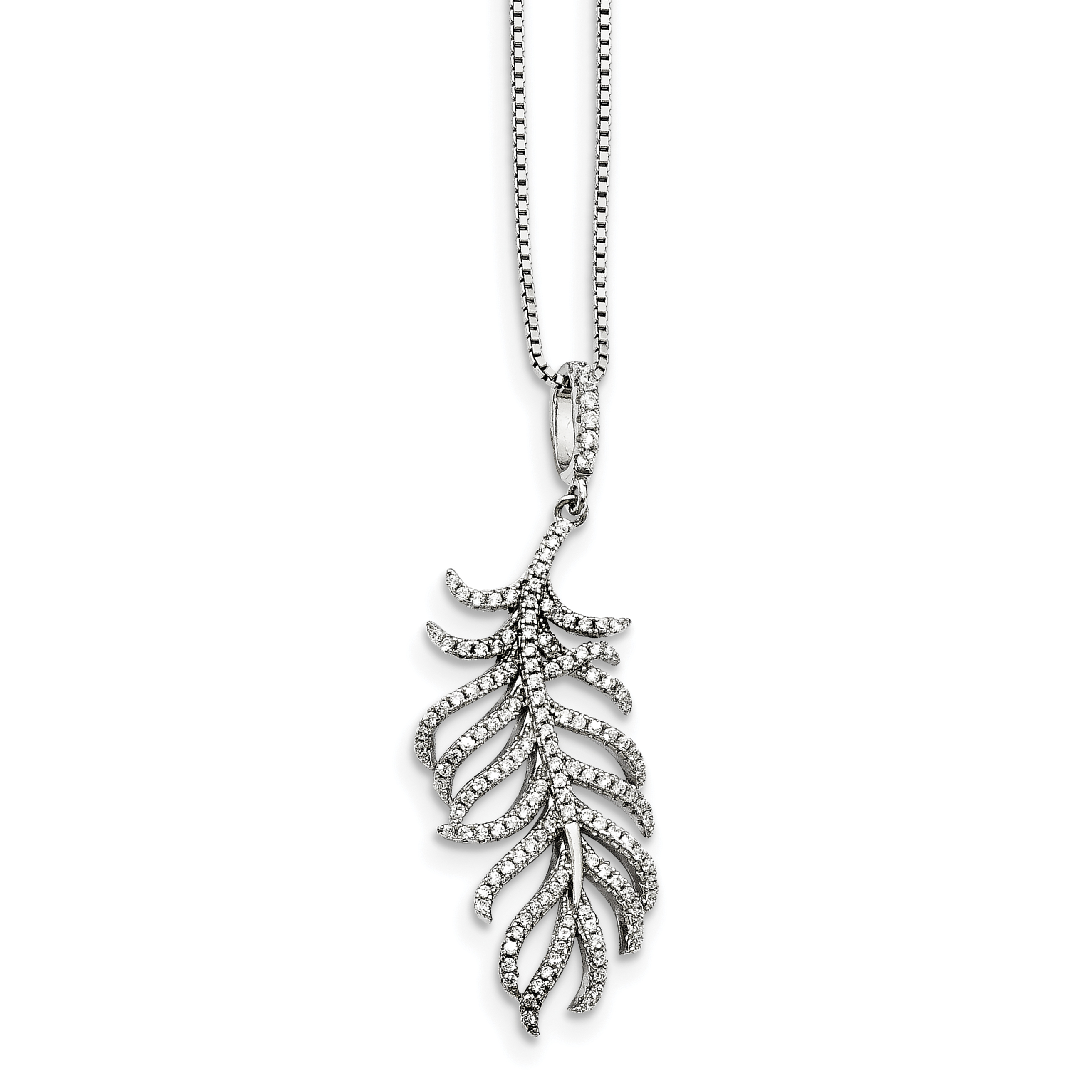 925 Sterling Silver Cubic Zirconia Cz Feather Chain Necklace Pendant Charm Wing Fine Jewelry Gifts For Women For Her - image 4 de 4