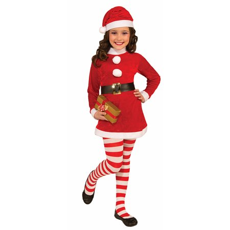 Child's Christmas Candy Clown Red White Striped Long Costume Tights (Red And Green Elf Tights)